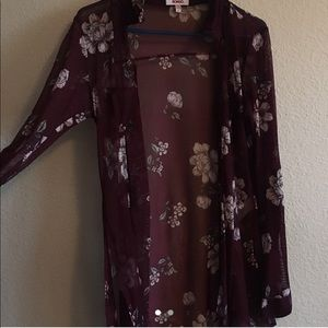 wine red see-through floral cardigan